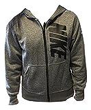 nike Boy's Zip Up Hooded Sweatshirt Heather Grey Black 915413-063 XL