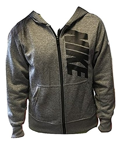 nike Boy's Zip Up Hooded Sweatshirt Heather Grey Black 915413-063 XL by NIKE