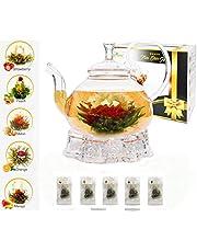 Five Star Gift Flower Tea Gift Box Set: 750ml Glass Teapot with Filter Infuser, Heart Glass Warmer & 5 Blooming Flowering Green Tea Balls