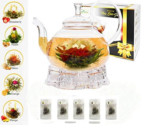 ECO NAVA Five Star Gift Flower Tea Gift Box Set: 750ml Glass Teapot with Filter Infuser, Heart Glass Warmer & 5 Blooming Flowering Green Tea Balls …