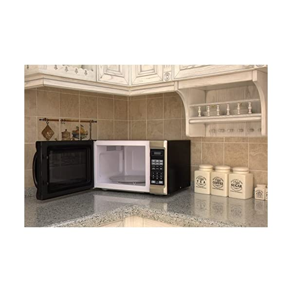 Emerson 1.3 CU. FT. 1000 Watt, Touch Control, Stainless Steel Front, Black Cabinet Microwave Oven, MW1338SB 7
