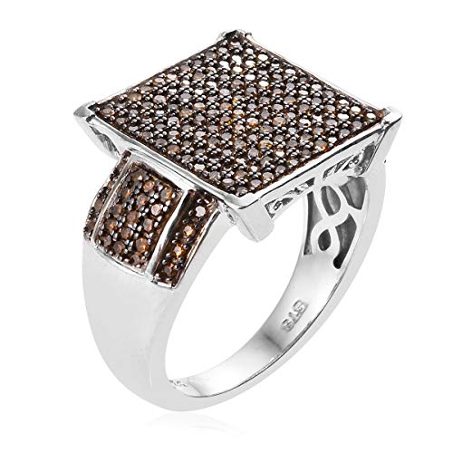 925 Sterling Silver Platinum Rhodium Plated Round Red Diamond Cluster Ring for Women Jewelry Gift Size 5 Ct 0.5