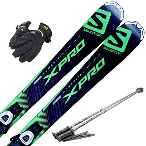 スキー4点セット SALOMON 15-16 X-PRO TI LITHIUM 10 162cm ストック110cm レディースグローブ B06X9P2Z17