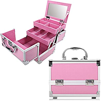 Professional Makeup Train Case - Cosmetic Box with Adjustable Dividers - Aluminum Make Up Artist Organizer Kit With Mirror Jewelry Box - 3 Extendable Trays and 2 Locks