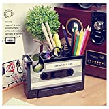 Creative Cassette Tape Dispenser Black Desktop Tidy Container Pen Holder Organizer Pen Cup Office School Stationery Supply Gift