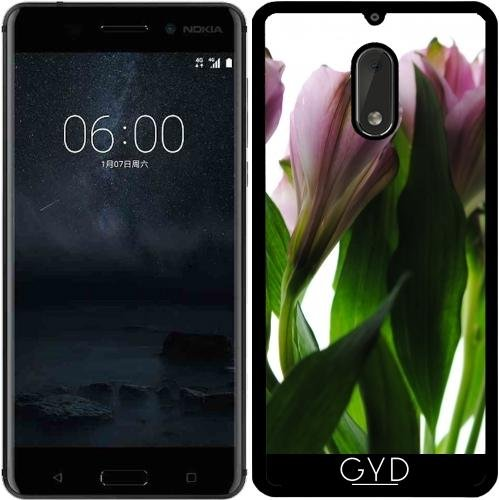 Funda de silicona para Nokia 6 - Flores De Color Rosa En Blanco by Blooming Vine Design