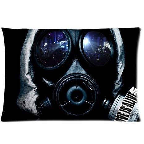 Máscara de gas negro funda con cremallera fundas de almohada 20 x 30 pulgadas
