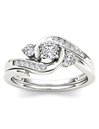 1/2 Carat Natural Round Diamond 10K White Gold Three-Stone Bypass Engagement Ring Set (H-I,I2)