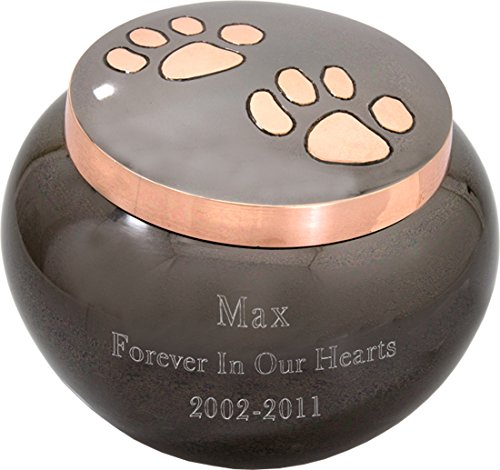Custom Pet Cremation Personalized Engraved Brass Pet Urn With Copper Paw Prints, Glossy Medium
