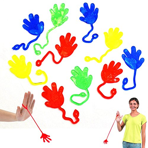Sticky Hands and Feet | Dazzling Toys Vinyl Sticky Hands and Feet Birthday Party Favors Carnival Prize - Pack of 72 Hands, 1 1/4 Inch Hand with a 4 Inch String -