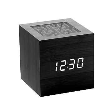 Reloj Despertador Dormilones Pesados Dormitorio Niños Relojes de Escritorio Pantalla LED Digital eléctrica Posponer Control de Voz Sensor de Gravedad Juego ...