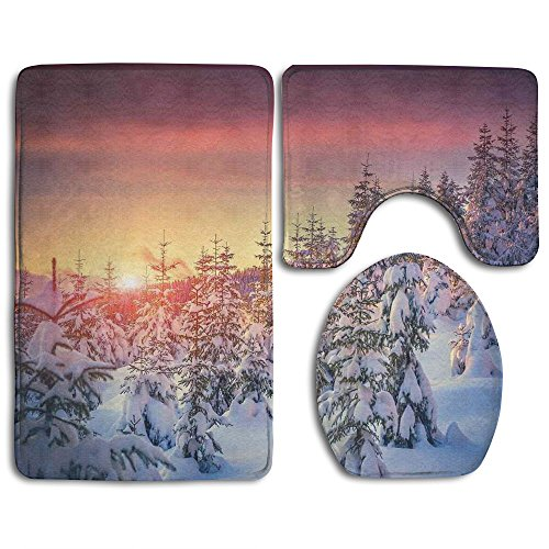 Guiping Snowy Landscape At Gloomy Sunrise Light In Mountain Forest Serene Bathroom Rug Mats Set 3 Piece,Funny Bathroom Rugs Graphic Bathroom Sets,Anti-skid Toilet Mat Set (Rug Serena Collection)