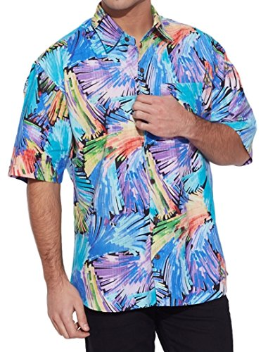 Shalinindia Men Cotton Printed Beach Shirt Half Sleeve Front Pocket,Sky Blue,Size-42 Inch (Sexy Outfits For Guys)