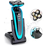 Electric Rotary Shaver for Men, JINDING 5580 Wet Dry Cordless Electric Shaver with Sideburn Trimmer and Rechargeable Base