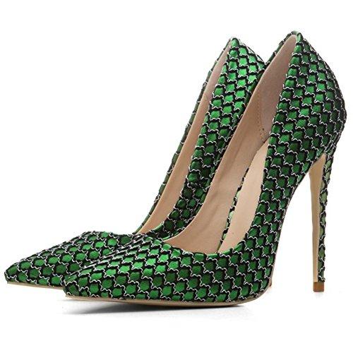 8 42 Donna Nero Le Piede Signore Dito Tribunale 5 eur44uk10 Tacco Festa Alto Pompe Green Del Stiletto uk Nvxie Scarpe Vestito Appuntito Eur pqHqTF