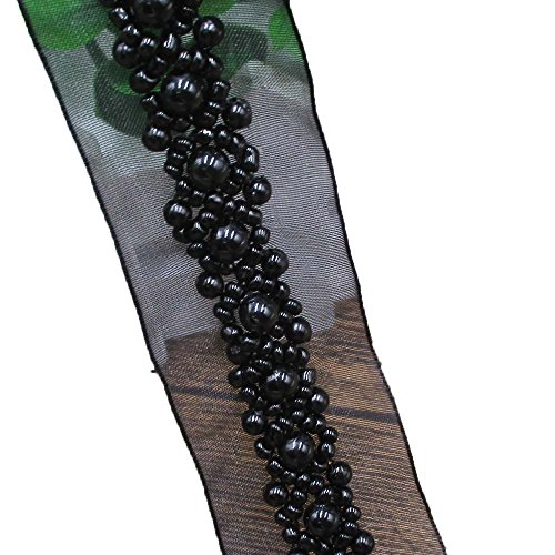 Black Faux Pearl Beads Beaded Trims by the yard Center Faux Eyelashes