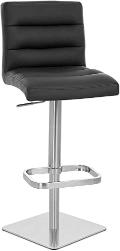 Zuri Furniture Black Lush Square Base Adjustable Height Swivel Armless Bar Stool