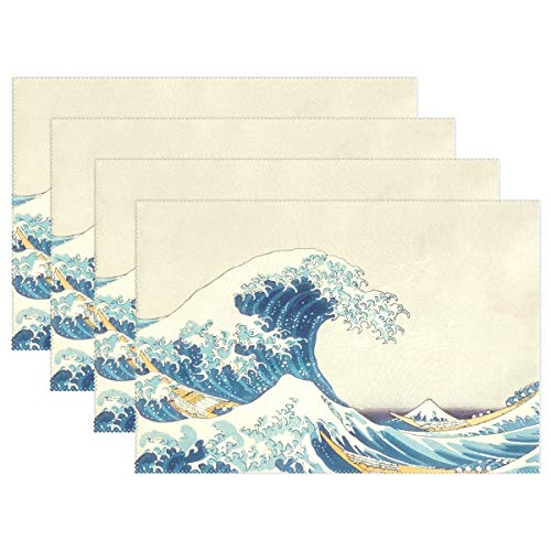 Fengye Placemats Wave Art Hokusai Kitchen Table Mats Resistant Heat Placemat for Dining Table Washable 18 x 12 Inch Set of 6