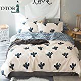 ORUSA New Cotton Twin Striped Reversible Duvet Cover Set for Girls Teen Adults Bedding Sets with 2 Pillow Sham (Twin, Style 5)