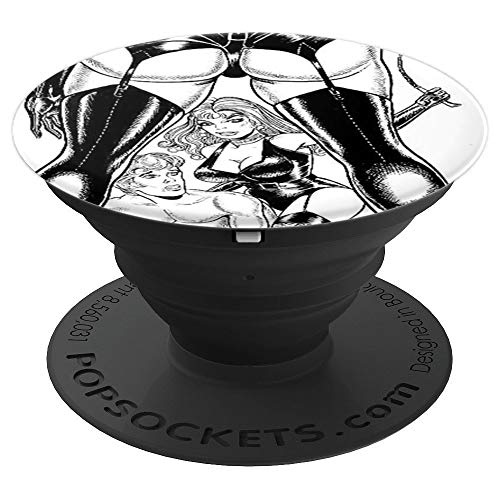 (Retro Man In Submission BDSM Dominatrix in Sexy Lingerie - PopSockets Grip and Stand for Phones and Tablets)