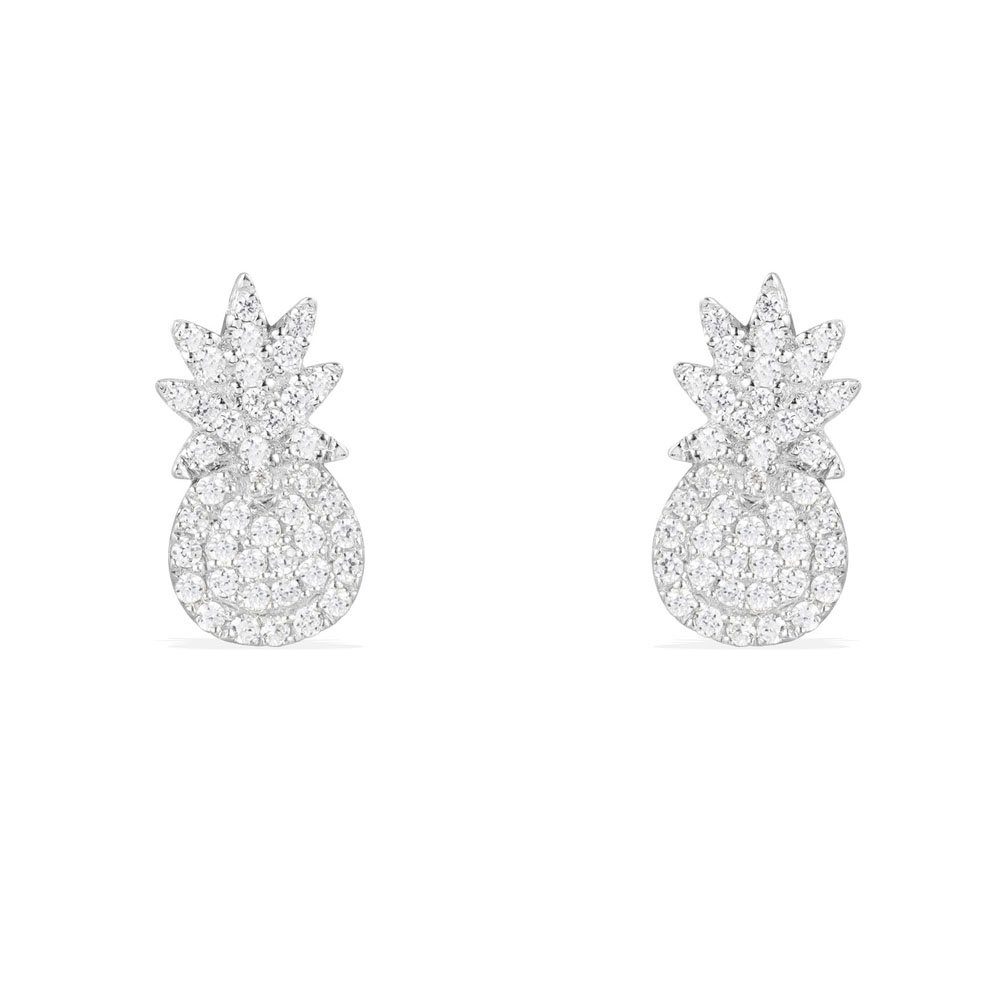 Sterling Silver White Gold Plating Pineapple Studs Summer Style Pave Post Stud Earrings