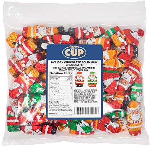 By The Cup Solid Milk Chocolate Santas 1 Pound Gourmet Chocolate Christmas Candy