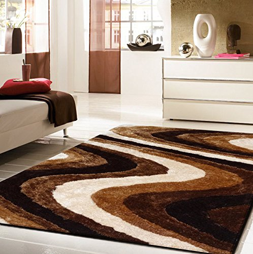 (Rug Factory Plus 112 Living Shag Luxurious Area Rug, 5 by 8-Feet, Brown)