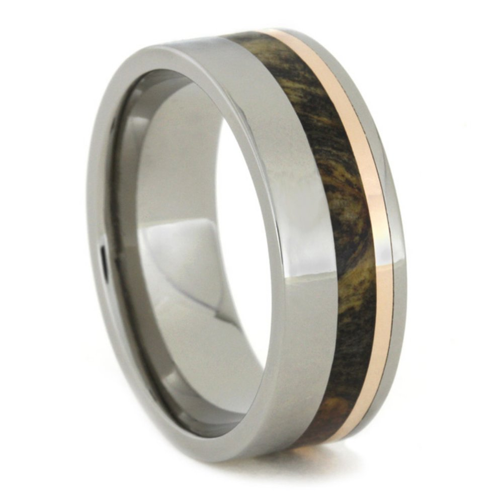 Buckeye Burl Wood and 14k Rose Gold 8mm Comfort-Fit Titanium Ring, Size 4.5