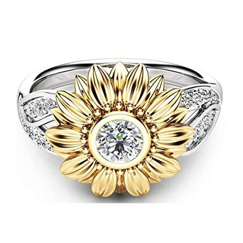 Onefa Hot Sale 2019 Sunflower Exquisite Women's Two Tone Silver Floral Ring Round Diamond Wedding Jewelry Gift 6-10 (6)
