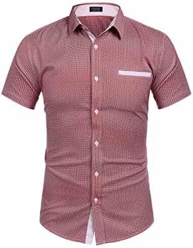 ad759689 COOFANDY Men's Printed Dress Shirt Short Sleeve Casual Button Down Shirt