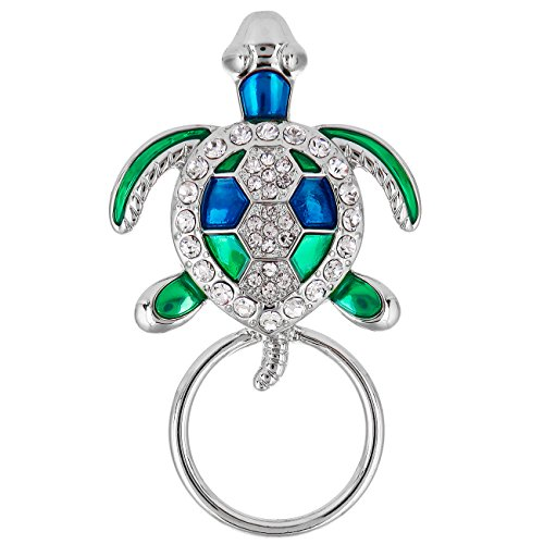 SenFai Enamel Cute Sea Turtles Magnet Brooch Eyeglass Holder (Tortoise Silver) (Italian Gold Charm Turtle)