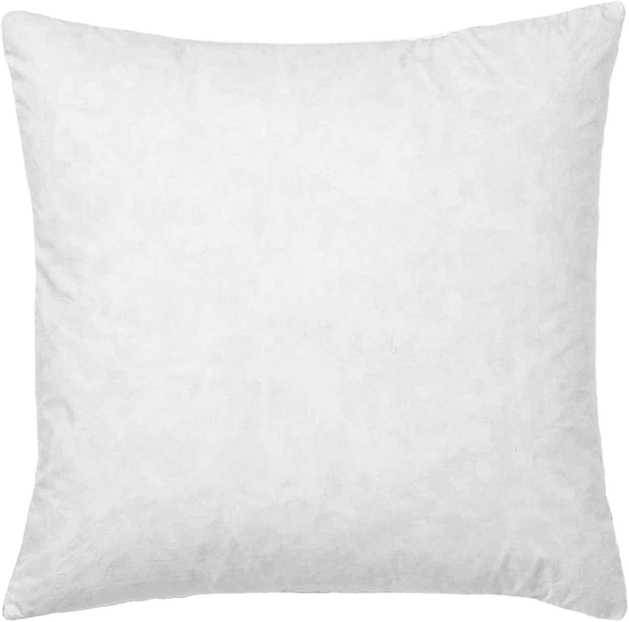 28x28 Euro Throw Pillow Insert-Down Feather Pillow Insert-Cotton Fabric-White.