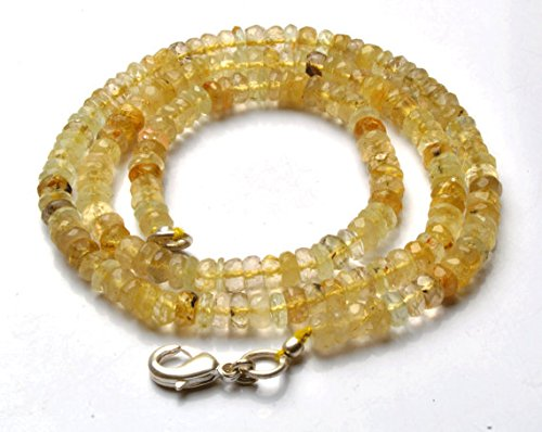 Faceted Rutilated Quartz Strand - 1 Strand Natural 16 inch Strand,Superb-Finest Quality,Natural Golden Rutilated Quartz Faceted Roundel Beads Necklace 4 to 4.5 MM