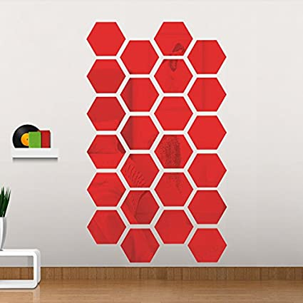 Amazon Com Qjoy 12pcs Hexagon Mirror Wall Stickers Diy Art Home