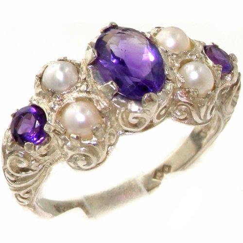 925 Sterling Silver Natural Amethyst and Cultured Pearl Womens Cluster Ring - Sizes 4 to 12 Available