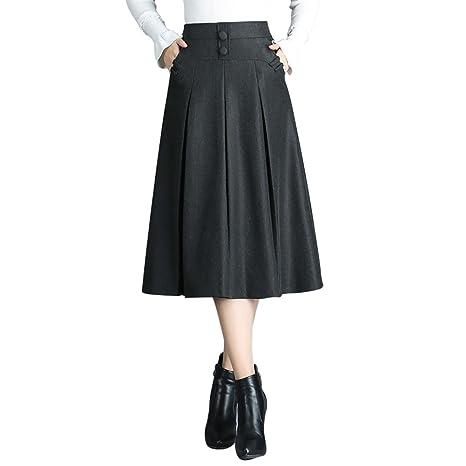 Mena Falda Plisada De Cintura Alta para Mujeres De Otoño E ...