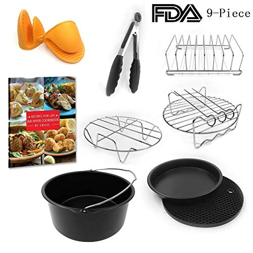 Universal XL Air Fryer Accessories 7.5~8 Inches With 160-Pages Cook E-Book Pizza Pan Cake Barrel Skewer Rack Silicone Mat Kitchen Tong Metal Holder Toast Rack Pinch Mitts Fit All 5.3QT &5.8QT
