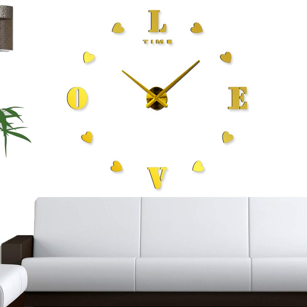 Modern Decorations L O V E The Perfect Treat Yourself with Adhesive Frameless DIY Clock Kit Silver Upgrade Any Home in a Short Time -Do It Yourself Clock