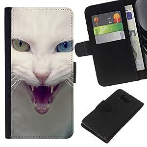 KLONGSHOP // Tirón de la caja Cartera de cuero con ranuras para tarjetas - Blanco Azul Gato Verde Ojo enojado - Samsung ALPHA G850 //