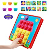 YAHO Button Art Color Matching Mosaic Pegboard Set Early Learning Educational for Kids Christmas Birthday Party Gifts