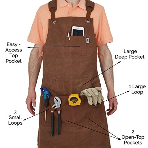 Heavy-Duty Waxed-Canvas Work Apron for Men and Women withPockets for ToolsCross-Back Straps – Adjustable from M to XXL (Brown) by Premium Rhino (Image #4)
