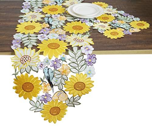 - CloudSun Sunflower Table Runner,Applique Embroidered Cutwork Birds Flowery Sunflower Dresser Scarf Table Linen, 15