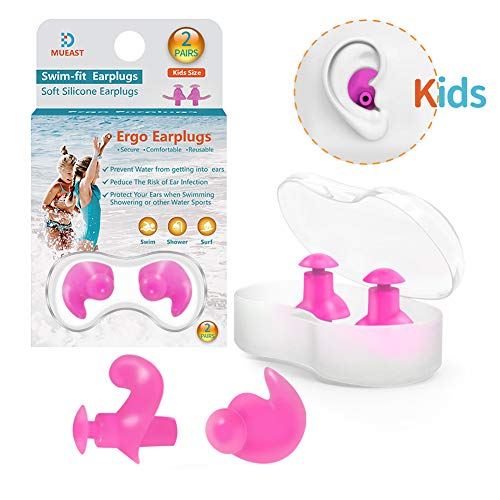 Upgraded Swimming Ear Plugs for Kids 2 Pairs Waterproof Reusable Silicone Ear Plugs for Swimming Diving Children Molded Professional Soft Flexible Showering Surfing (Kids Earplugs - Pink)