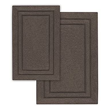 Superior 2-Piece Cotton Non -Skid Bath Rug Set, Charcoal