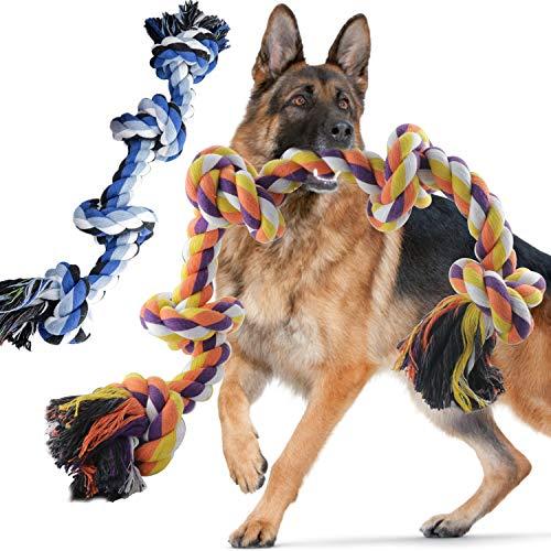 🥇 Wordcam Paquete de 2 Juguetes de Cuerda para Perros para masticadores agresivos Juguetes de Cuerda Dura para Masticar para Perros Grandes y medianos Tug War Limpieza de Dientes