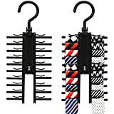 2 PACK IPOW Black Tie Belt Rack Organizer Hanger Non-Slip Clips Holder With 360 Degree Rotation,Securely up to 20 Ties
