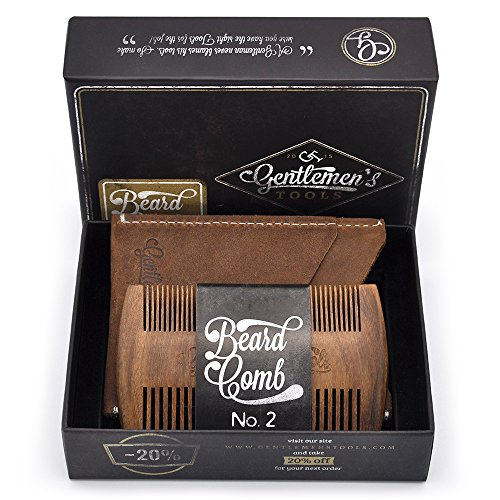 Beard Comb for Men with Crazy Horse Leather Carrying Case Pouch – Wallet, Natural Organic Sandal Wood Scent, Anti-Static and No Snag, Handmade Wide & Fine Tooth, Packaged in Premium Giftbox
