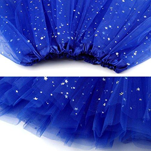 Star Jupe adulte bulles Bleu jupe Ballet Paillettes gaze Femmes Pliss HCFKJ danse Tutu toiles bouffante Bouffe en de 2018 Fil Princesse plisse Pettiskirt qwpqOFX