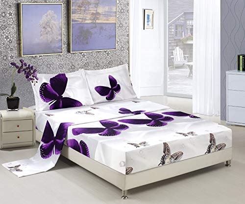 HIG 3D Bed Sheet Set -4 Piece 3D Purple Butterfly Reactive Printed Sheet Set Queen Size (Y34) - Soft, Breathable, Hypoallergenic, Fade Resistant -Includes 1 Flat Sheet,1 Fitted Sheet,2 Shams