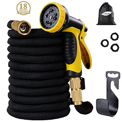 YIRUN Expandable Garden Hose Lightweight and Durable Water Hose With 10 Pattern Spray Nozzle, Solid Brass Connectors - Double Latex Improved Fabric Protection, Strongest Garden hose on earth(50feet) (Solid Brass Columns)